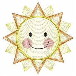 Rippled Smiling Summer Sun embroidery design