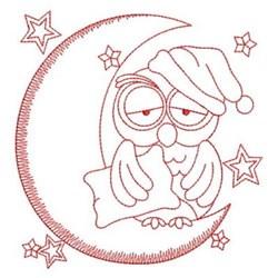 Redwork Good Night Owl embroidery design