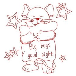 Redwork Good Night Mouse embroidery design