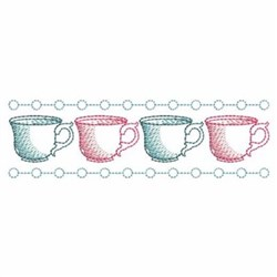 Sketched Tea Cup Border embroidery design