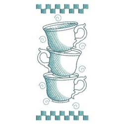 Sketched Stacked Tea Cups embroidery design