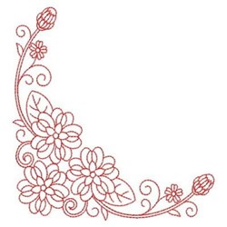 Redwork Heirloom Flower Corner embroidery design