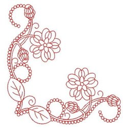 Redwork Heirloom Flower Corner embroidery design