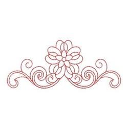 Redwork Heirloom Flower Border embroidery design
