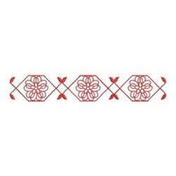 Redwork Geometric Flower Border embroidery design