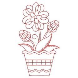 Redwork Heirloom Potted Flower embroidery design