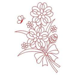Redwork Heirloom Flower Bouquet embroidery design