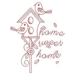Redwork Birds & Birdhouse embroidery design
