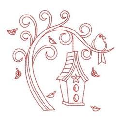 Redwork Swirly Tree & Birdhouse embroidery design