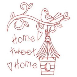 Redwork Home Tweet Birdhouse embroidery design