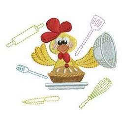 Cooking Rooster embroidery design