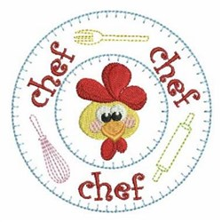 Rooster Chef Plate embroidery design