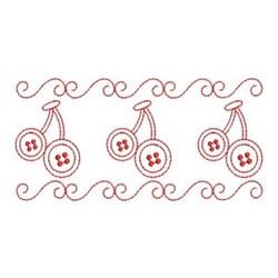 Redwork Cherry Button Border embroidery design