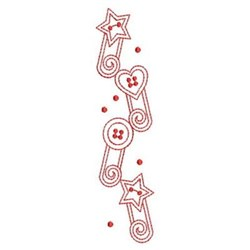 Redwork Safety Pin Border embroidery design