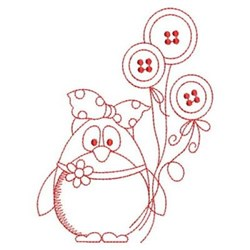 Redwork Penguins & Buttons embroidery design
