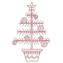 Redwork Button Christmas Tree embroidery design