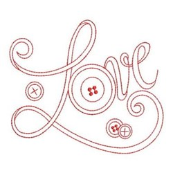 Redwork Love Buttons embroidery design