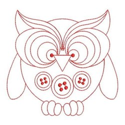Redwork Button Owl embroidery design