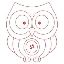 Redwork Owl & Button embroidery design