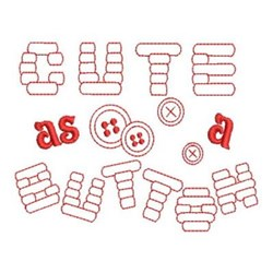 Redwork Cute as a Button embroidery design