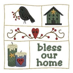 Country Bless Our Home embroidery design