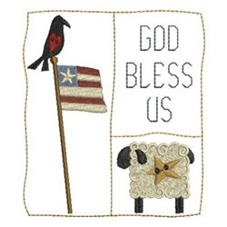Country God Bless Us embroidery design