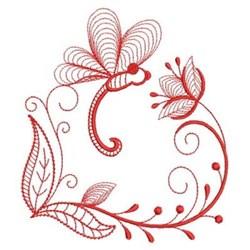 Redwork Heirloom Dragonfly embroidery design