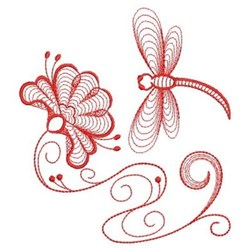 Redwork Dragonfly Flower embroidery design