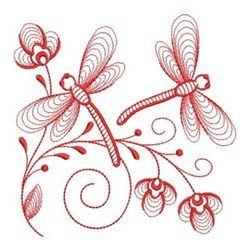 Redwork Heirloom Dragonflies embroidery design
