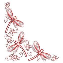 Redwork Heirloom Dragonfly Corner embroidery design