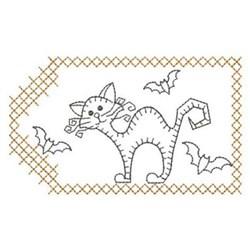Redwork Halloween Cat embroidery design