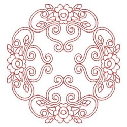 Redwork Rose Quilt Square embroidery design
