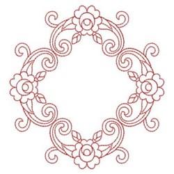 Redwork Rose Diamond embroidery design