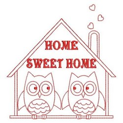 Redwork Sweet Home Owls embroidery design