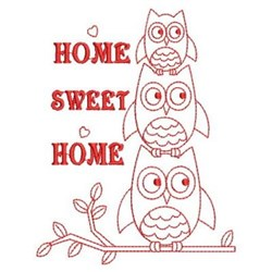 Redwork Stacked Owl embroidery design