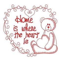 Redwork Home Teddy Bear embroidery design