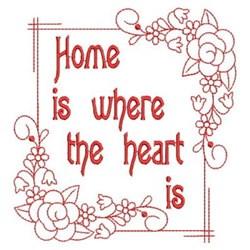 Redwork Floral Home Frame embroidery design