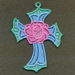 FSL Cross & Rose embroidery design