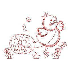 Redwork Easter Chick embroidery design