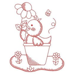 Redwork Chick & Potted Flower embroidery design