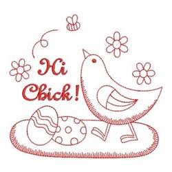 Redwork Chick & Easter Eggs embroidery design