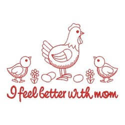 Redwork Better With Mom embroidery design