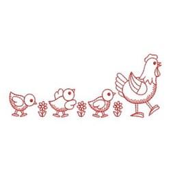 Redwork Chicken Border embroidery design