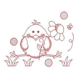 Redwork Chick & Daisy embroidery design