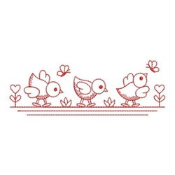 Redwork Chick Border embroidery design