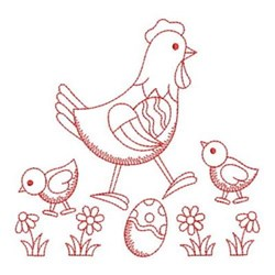 Redwork Easter Chickens embroidery design