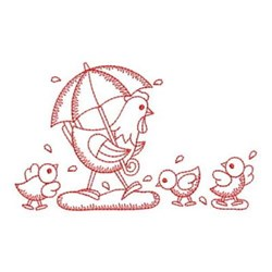 Redwork Rainy Day Chickens embroidery design