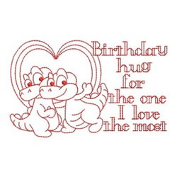 Redwork Happy Birthday Alligators embroidery design