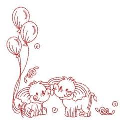Redwork Happy Birthday Elephants embroidery design