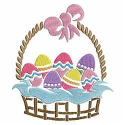 Easter Basket Of Eggs embroidery design